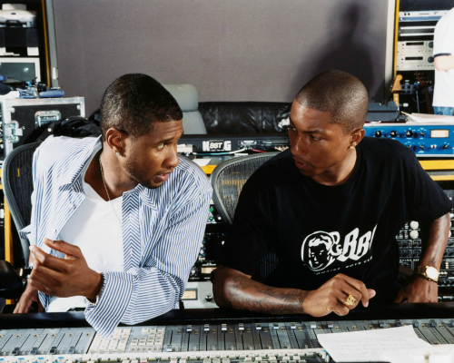 Usher & Pharrell At Work In Studio