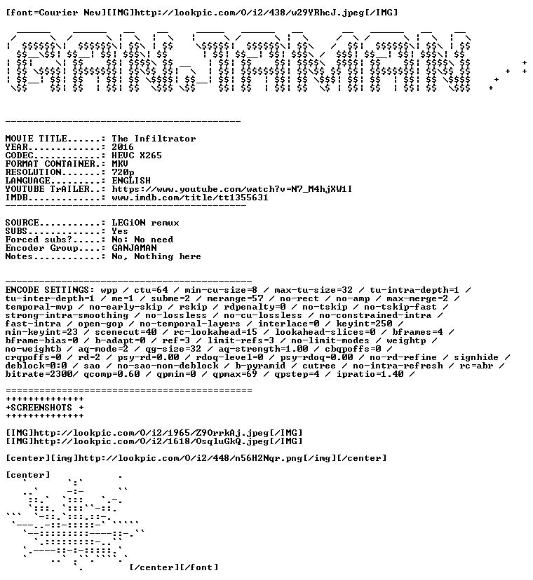 The Infiltrator 2016 720p BDRip HEVC X265 Ac3-GANJAMAN