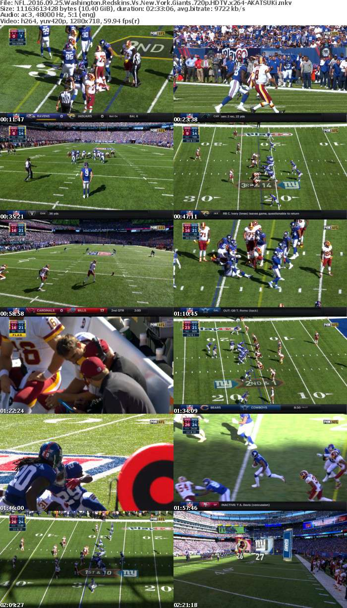 NFL 2016 09 25 Washington Redskins Vs New York Giants 720p HDTV x264-AKATSUKi