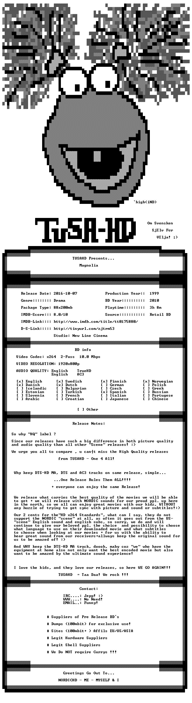 Magnolia 1999 TrueHD AC3 MULTISUBS 1080p BluRay x264 HQ-TUSAHD