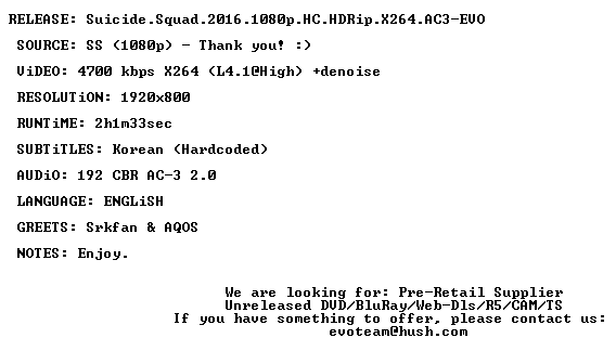 Suicide Squad 2016 1080p HC HDRip X264 AC3-EVO