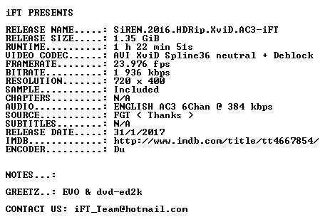 SiREN 2016 HDRip XviD AC3-iFT