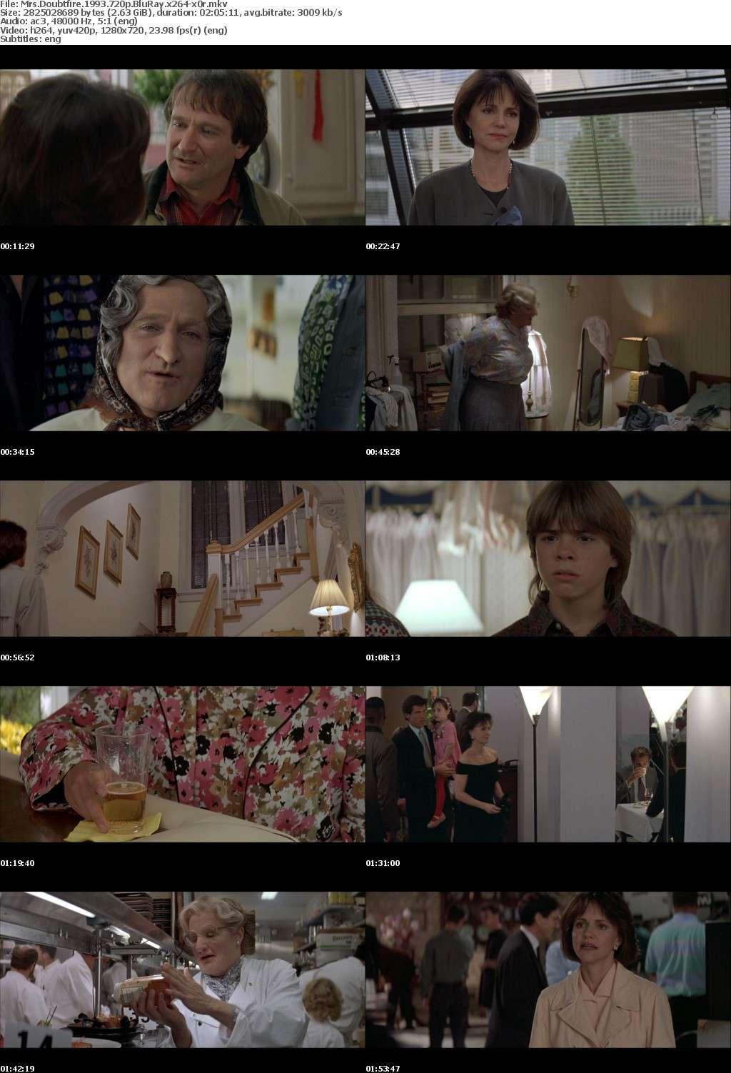Mrs Doubtfire 1993 720p BluRay x264-x0r