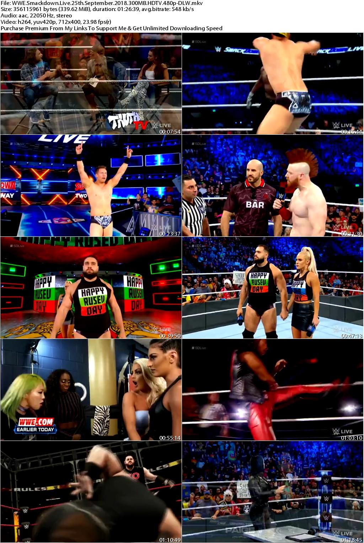WWE Smackdown Live 25th September 2018 300MB HDTV 480p-DLW