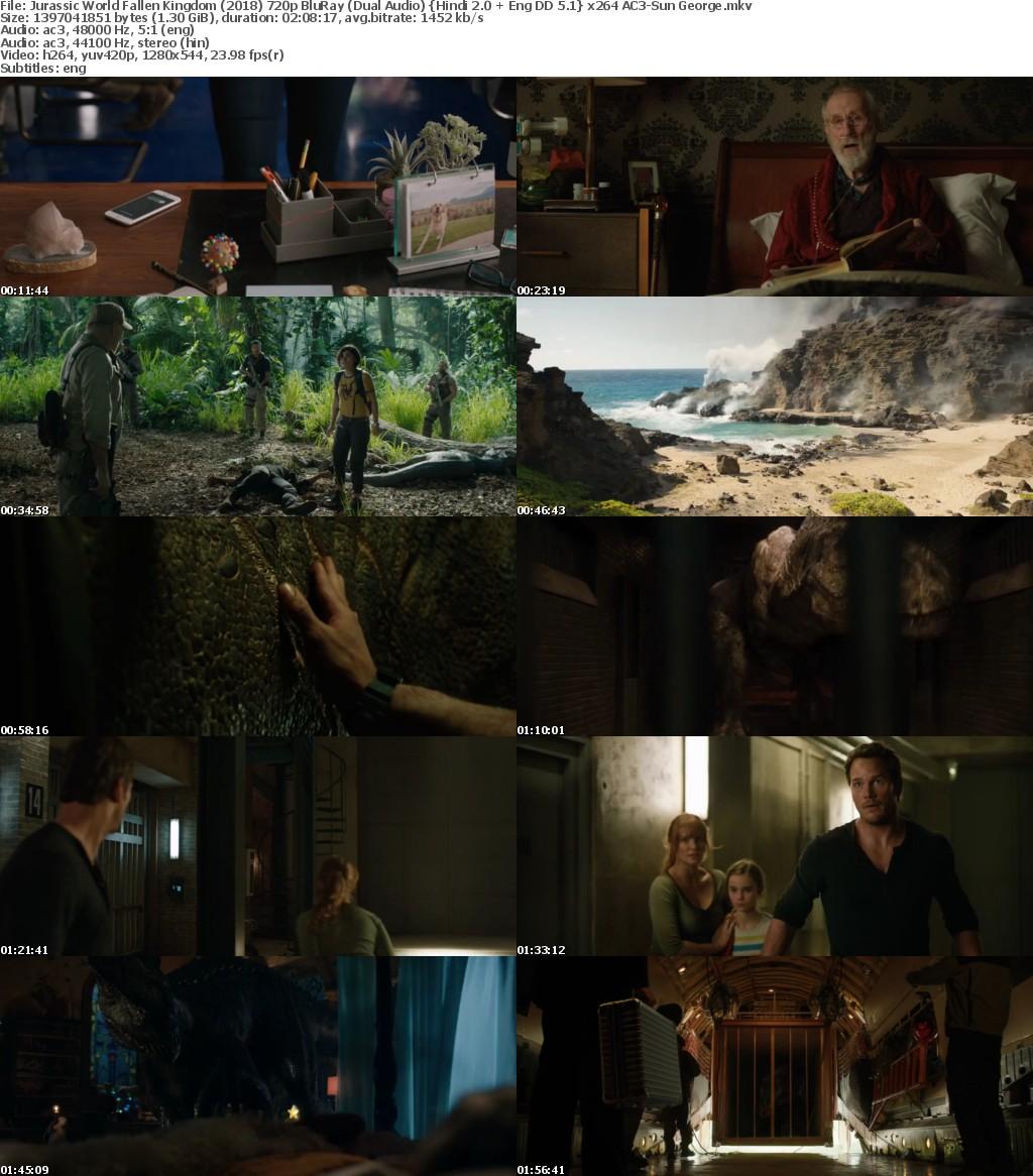 Jurassic World Fallen Kingdom (2018) 720p BluRay (Dual Audio) Hindi 2 0 + Eng DD 5 1 x264 AC3-Sun George