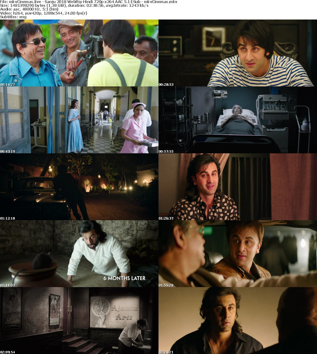 Sanju 2018 WebRip Hindi 720p x264 AAC 5 1 ESub - mkvCinemas