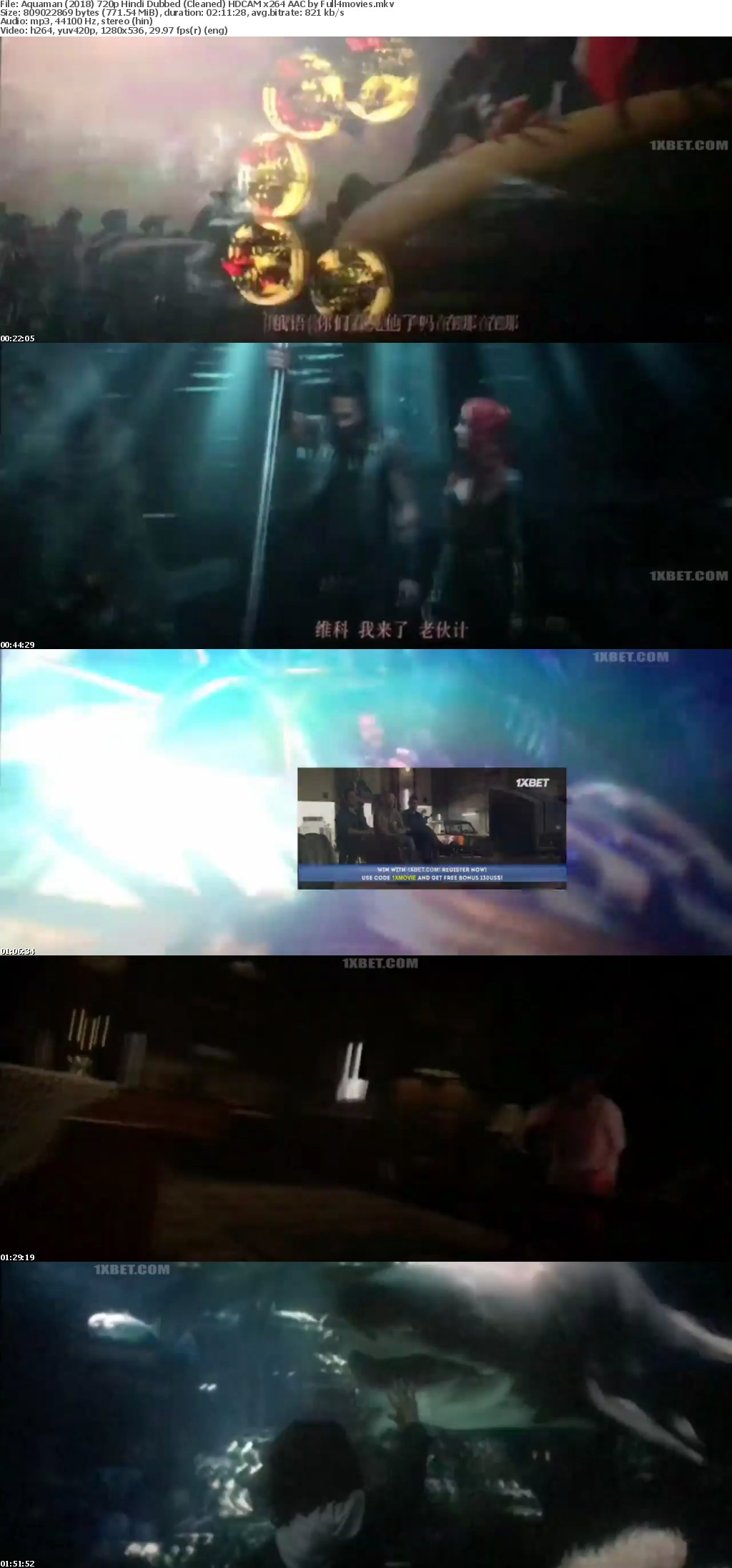Aquaman 2018 720p Hindi Dubbed (Cleaned) HDCAM x264 AAC by Full4movies
