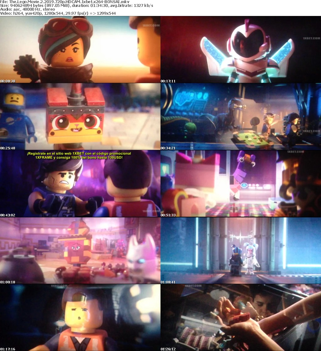 The Lego Movie 2 (2019) 720p HDCAM 1xbet x264-BONSAI