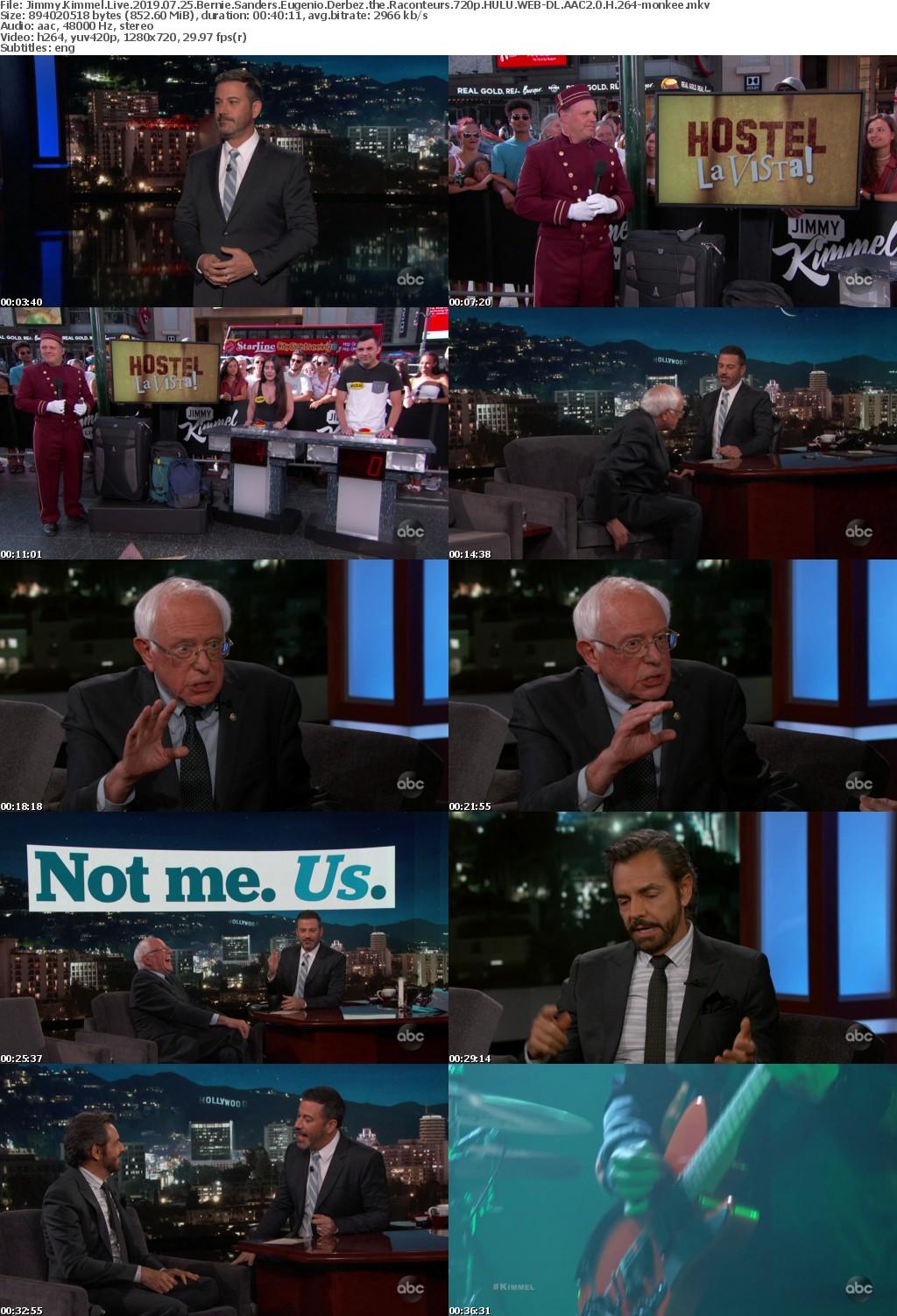 Jimmy Kimmel Live 2019 07 25 Bernie Sanders Eugenio Derbez the Raconteurs 720p HULU WEB-DL AAC2 0 H 264-monkee