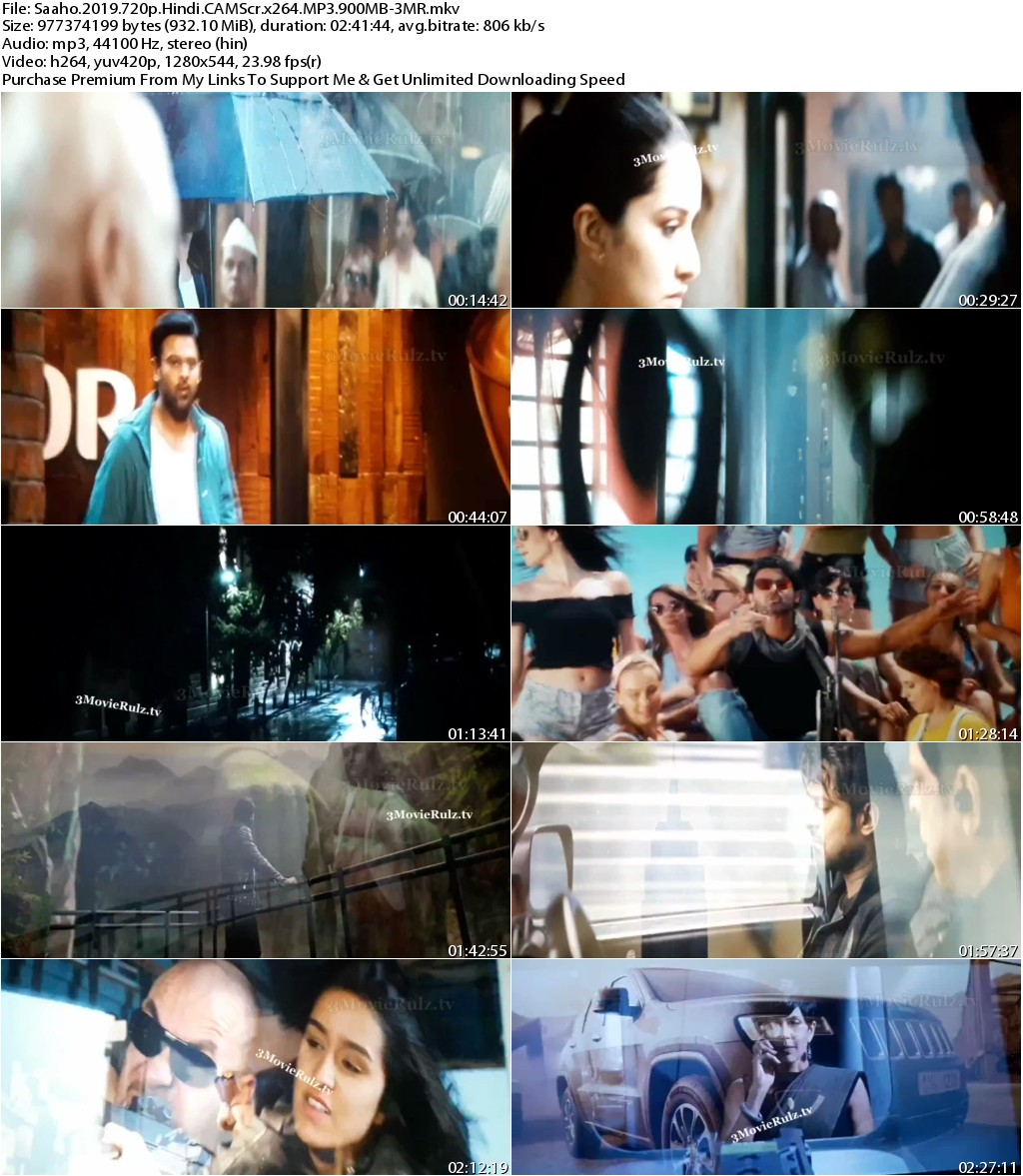 Saaho (2019) Hindi 720p CAMScr x264 MP3 900MB-3MR