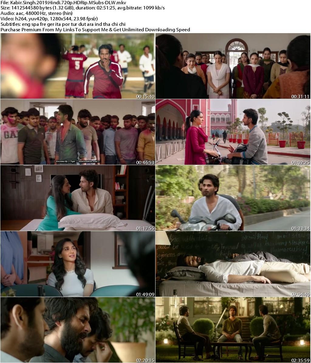 Kabir Singh (2019) Hindi 720p HDRip MSubs-DLW