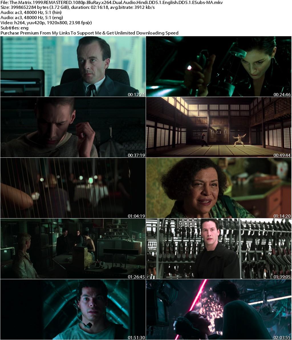 The Matrix (1999) REMASTERED 1080p BluRay x264 Dual Audio Hindi DD5.1 English DD5.1 ESubs-MA
