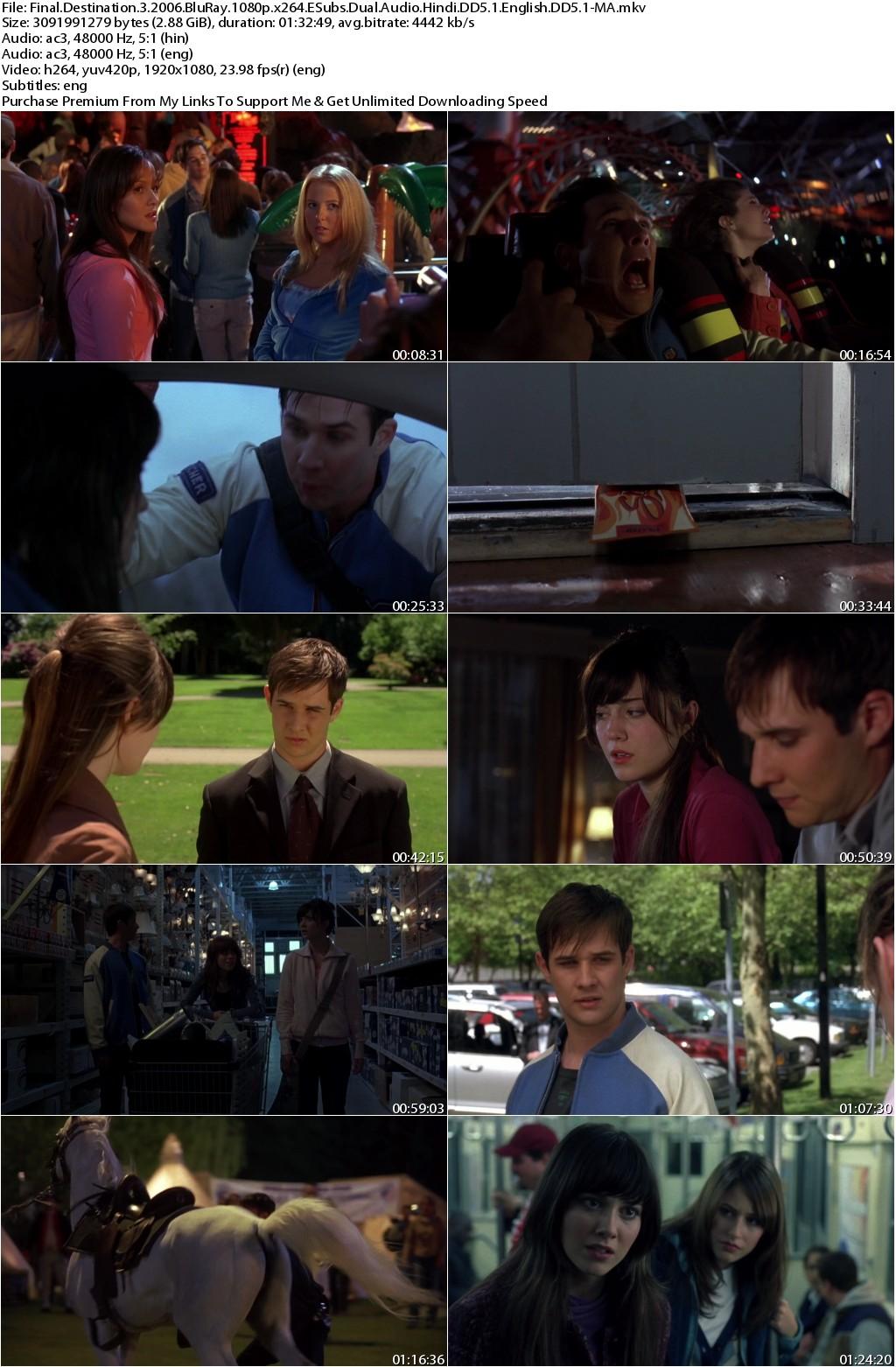 Final Destination 3 (2006) 1080p BluRay x264 ESubs Dual Audio Hindi DD5.1 English DD5.1-MA