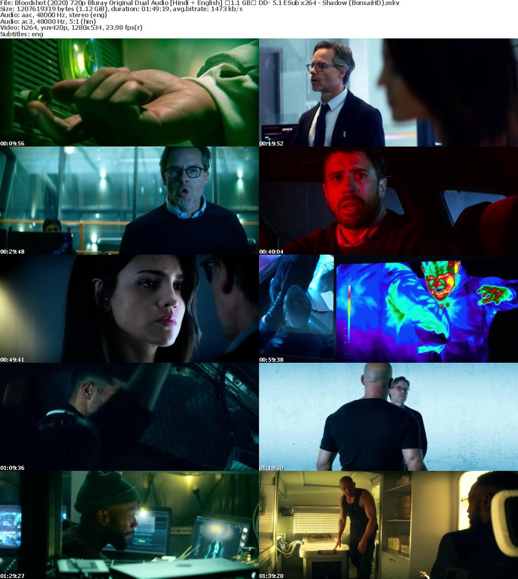 Bloodshot (2020) 720p Bluray Original Dual Audio Hindi + English 1 1 GB DD- 5.1 ESub x264 - Shadow (BonsaiHD)